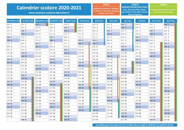 ZONE B : Vacances scolaires 2020 2021 et 2021 2022   Calendrier et