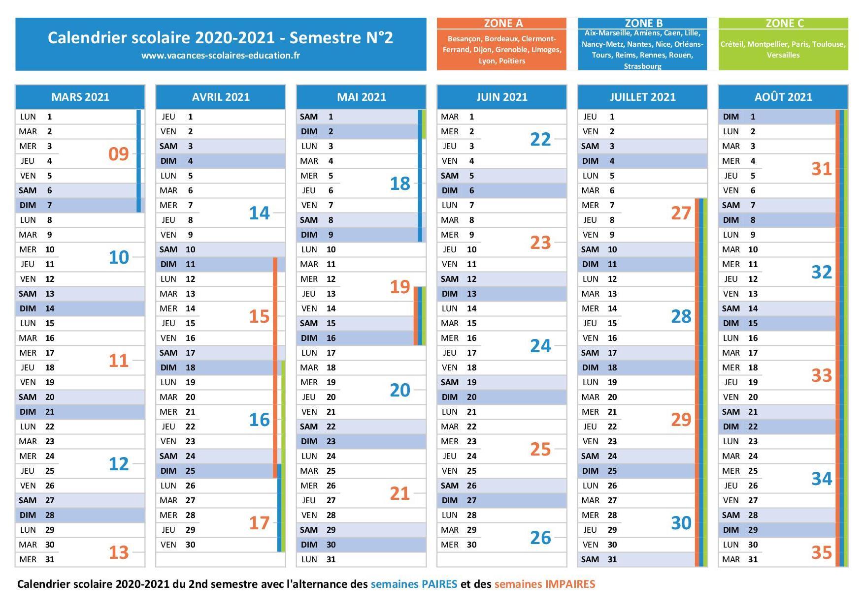 Calendrier Paire Impaire 2021 Semaine Paire   Semaine impaire : calendrier 2020 2021