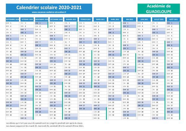 GUADELOUPE : Calendrier et dates des vacances scolaires 2020 2021
