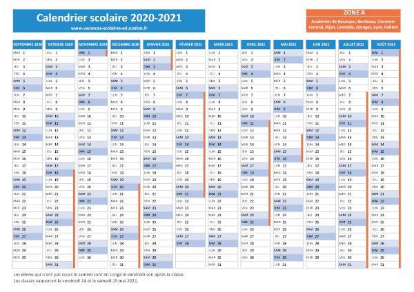Vacances scolaires Lyon   Calendrier scolaire 2020 2021