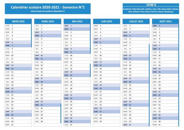 ZONE B : Vacances scolaires 2020 2021   Calendrier et dates