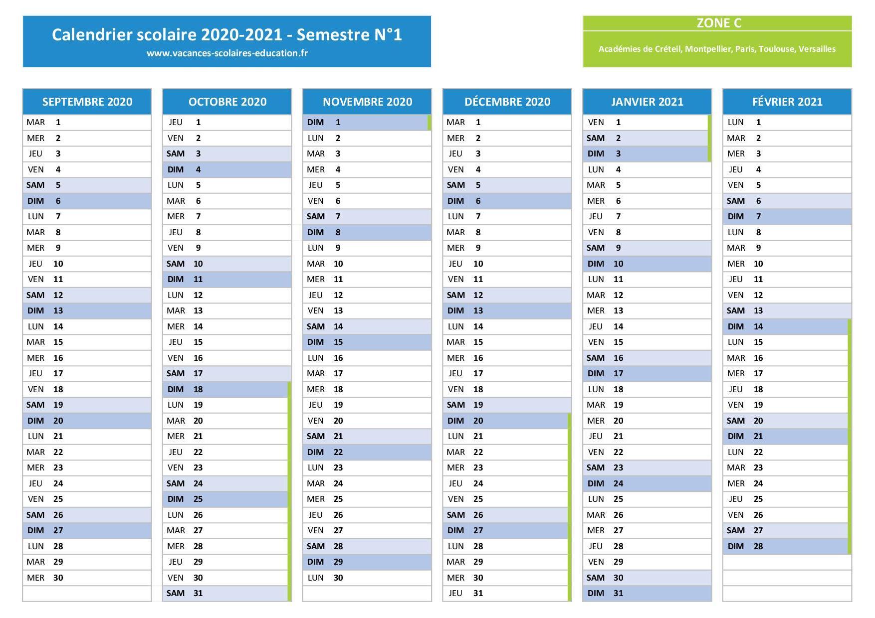 Calendrier Scolaire 2019 Et 2021 à Imprimer Zone C ZONE C : Vacances scolaires 2020 2021   Calendrier et dates